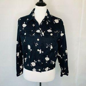 Laurel Jeans Italy Jacket Black Floral Buttons 38